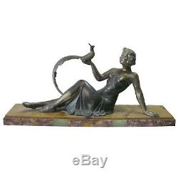 Art-deco Statue In Silvered Bronze Woman With Pheasant Marble Base L = 48 CM