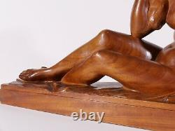 Auguste Guenot Sculpture Wood Naked Woman Statue Art Deco Toulouse Maillol