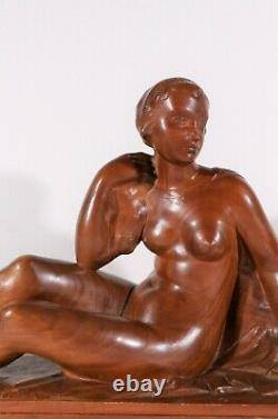 Auguste Guenot Sculpture Wood Woman Naked Statue Art Deco Toulouse Maillol