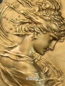 Bas Relief Bronze Plaque Oval Woman Art Nouveau Deco
