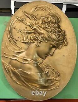 Bas Relief Bronze Plaque Oval Women's Art Nouveau Deco