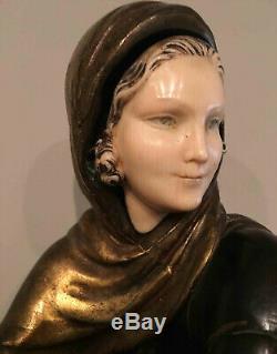 Beautiful 1930s Art Deco Model Veiled Chryselephantine Style On Marble