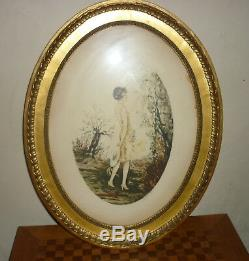 Beautiful Engraving Art Deco Signed Dorval Kind Icart XIX Woman