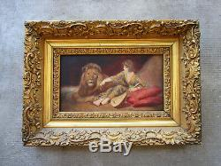 Beautiful Old Unsigned Painting, Lion Tamer, Art Deco Woman, Circus