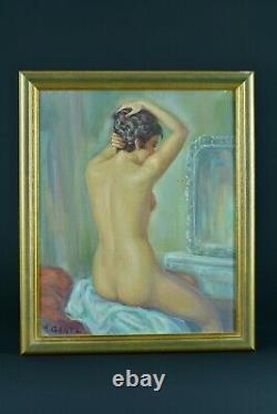 Beautiful Painting Old Portrait Young Woman Nude With Hairdresser Signed Albert Genta