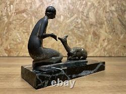 Beautiful Sculpture Bronze Socle Marble Year 1930 Art Deco Woman A La Biche