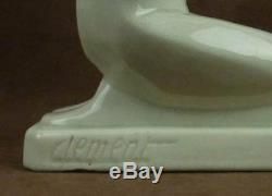 Beautiful Sculpture Nightlight Art Deco Female Cracked Ceramic Signed