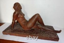 Belle Terre Cuite Terracotta Sculpture Femme Nue Art Deco Delapchier