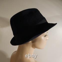 Black Blue Hat Borsalino 1857 Alessandria Italy Women's Men Art Deco N4669