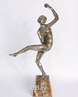 Bronze Art Deco Woman Dancer At The Ball Sign 1930