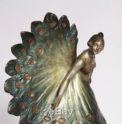 Bronze Sculpture Art Deco Woman Dancer Statuette In 1930 Signed Luce