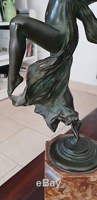 Bronze Sculpture Eugene Desire Piron 1875-1928 Woman Modern Art Deco Jugenstil