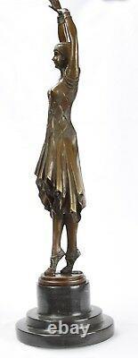 Bronze Sculpture Women's Kita Dancer On Marble Base Art Deco Figure