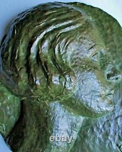 Bronze Woman Low Relief Sculpture By Cousinet Art Deco Lost Wax Valsuani