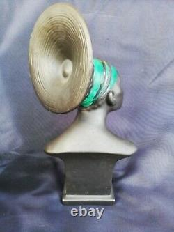Bust African Woman Ceramique Former/bust Woman Art Deco/style Robj
