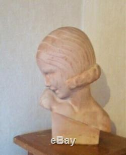 Bust Of A Woman Art Deco-signed Guéro