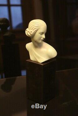 Bust Of Woman Art Deco Patinated Bronze Pedestal Black Onyx Signed Ouline