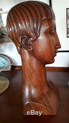 Bust Woman Art Deco 1925 Attributed Antoine Bourdelle Rosewood