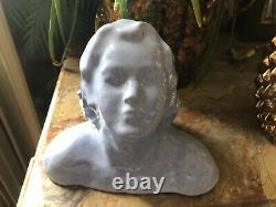 Bust Young Woman Art Deco In Blue Enamelled Terracotta Signed Dlg Bouraine Tbe