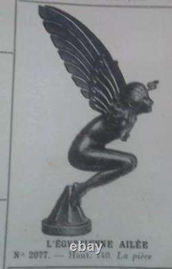 Car Mascot Costume Female Wing Art Deco Bronze Silver Marcel Bonnot H3547