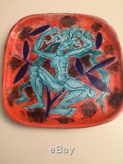 Cazaux Edouard Plat Plate Art Deco Woman Nude Art Deco Ceramic