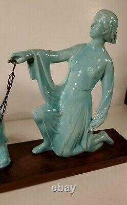 Ceramic Art Deco Art Nouveau Woman Sculpture With Greyhounds 63 CM