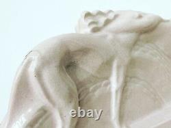 Ceramic Art Deco Woman Dew Cracked And Greyhound Dlg Fontinelle