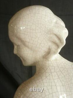 Ceramic Craquelee Art Deco Young Woman Signed G. Ninin 1930 Beautiful State