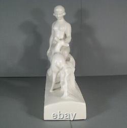 Ceramic Craquelée Style Art Deco Woman Nude Diane Et Biche Signed L. François