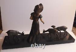 Cham Young Woman Nurhaving Deer Art Deco Group In Regulation And Marble