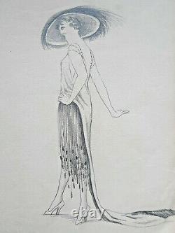 Chapeau Elegant Woman Dessin Original Fashion Art Deco Ca 1920