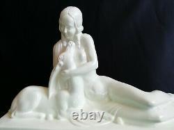 Charles Lemanceau Cracked White Ceramics Woman - Art Deco Antelope