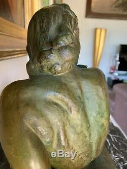 Cipriani Ugo (1887-1960) Woman Allangue Large Sculpture Art Deco Period