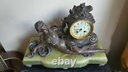 Clock Hanger In Regular On Marble Decoration Of Woman Laid Art Nouveau