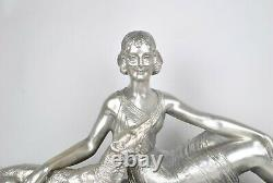 D H Chiparus, Woman Assisi Au Barzoï, Silver Bronze Signed, Art Deco, 20th Century