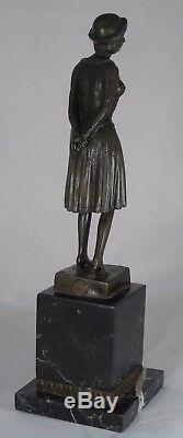 D. H. Chiparus (after) Bronze Marble Pedestal Depicting An Art Deco Woman