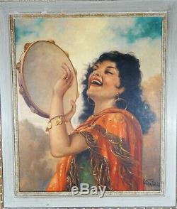 David Andre 1930-1940 Table S Portrait Oil / Canvas Art Deco Gypsy Woman Peintur
