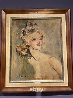 Dazza Louis Oil S/ Canvas Portrait Of Woman Naked Tits Painting Dlg J-g Domergue