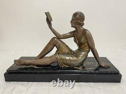 Demeter Chiparus Sculpture Regular Young Woman To The Book Socle Marble Signed An1930