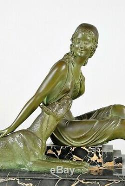 Dh Chiparus, Woman In Dogo, Bronze Signed, Art Deco, Xxth Century