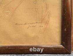 Drawing Art Deco Firm Bouisset (1859-1925) Portrait Woman Bonnet Frame 1920