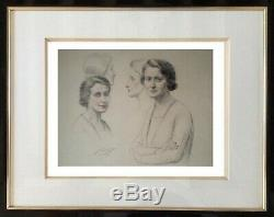 Drawing From 1930 Era Art Deco Delicate Portraits From Women Signed