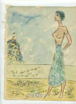 Drawing Louis Touchagues (1893 1974) Woman On The Beach