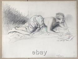 Drawing Original Art Deco William Ablett Portrait Woman Nude Reading Sale Workshop