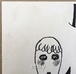 Drawing Original Ink Albert Vialé Portrait Couple Woman Men Monocle 1930s