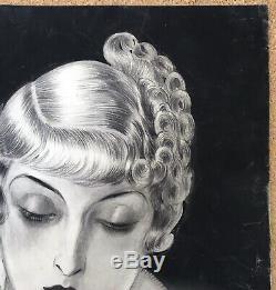 Drawing Original Portrait Coiffure Luc Lafnet Claude 1930s Art Deco Belgian