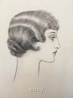 Drawing Original Portrait Woman Hair Fashion Art Deco Luc Lafnet Belgian 1930s