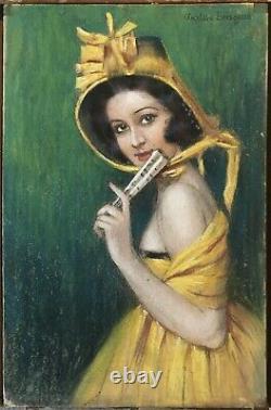 Drawing Pastel Art Deco Gustave Brisgand Portrait Woman Yellow Dress Fan 1910s