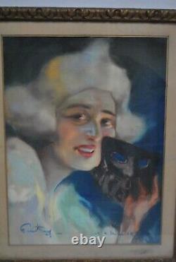 Drawing Portrait Woman Original Pastel Art Deco 1930 Signed Fortuney Carnival