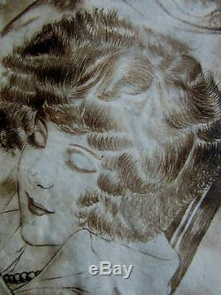 Drawing-ink From China Art Deco-1920-r. Labarthe-young-woman-illustrator Dog